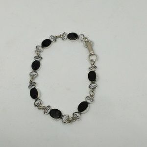 Sterling silver and onyx delicate bracelet